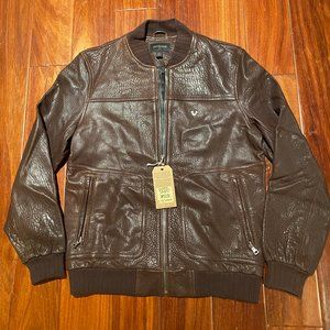 TRUE RELIGION MEN BASEBALL LEATHER JACKET SMALL